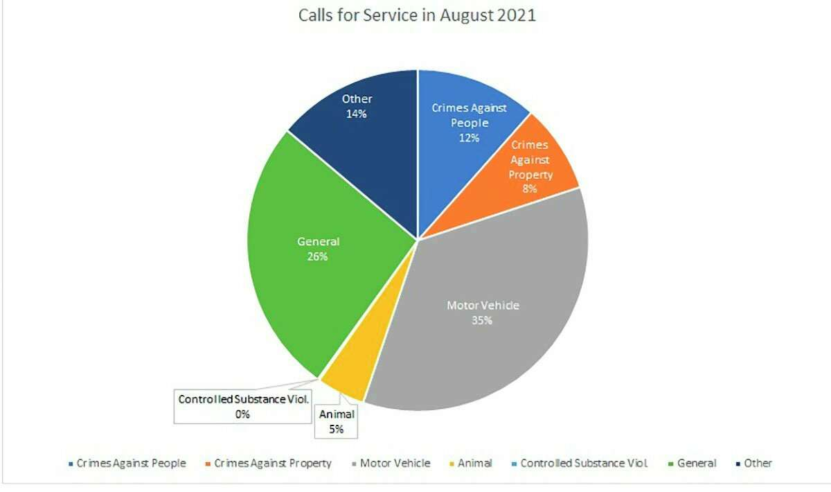 Here are the percentage of the calls for service the Mecosta County Sheriff's Office took in August 2021. (Pioneer image/Julie Norwood)