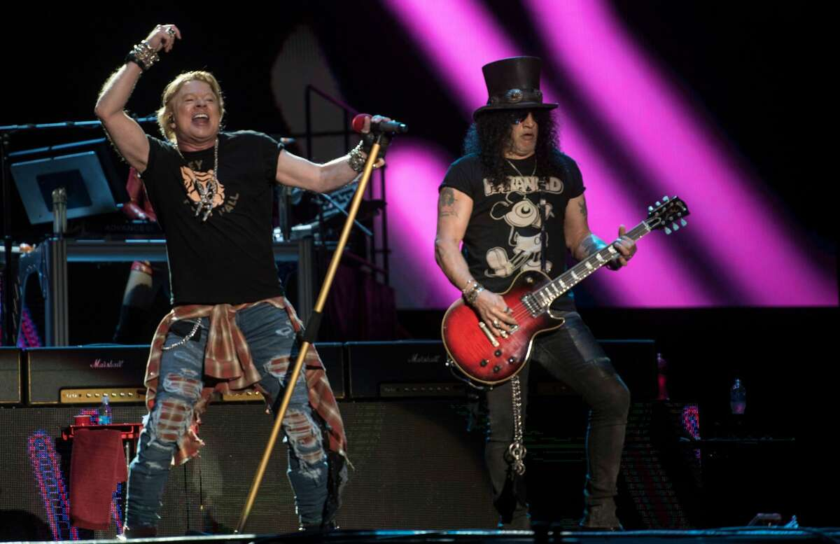 Axl Rose and Slash of Guns N' Roses perform during the Vive Latino 2020 festival at the Foro Sol in Mexico City on Mar. 14, 2020. Napa Valley's BottleRock pulled the plug on the band on Saturday night as they played past the festival's 10 p.m. curfew.
