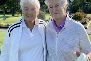 Jan Federice, left, and Pat Joseph wait to tee off in a tournament at Ballston Spa Country Club on Saturday, Sept. 4, 2021. Federice is being inducted into the state hall of fame on Sept. 11. (Joyce Bassett / Times Union)