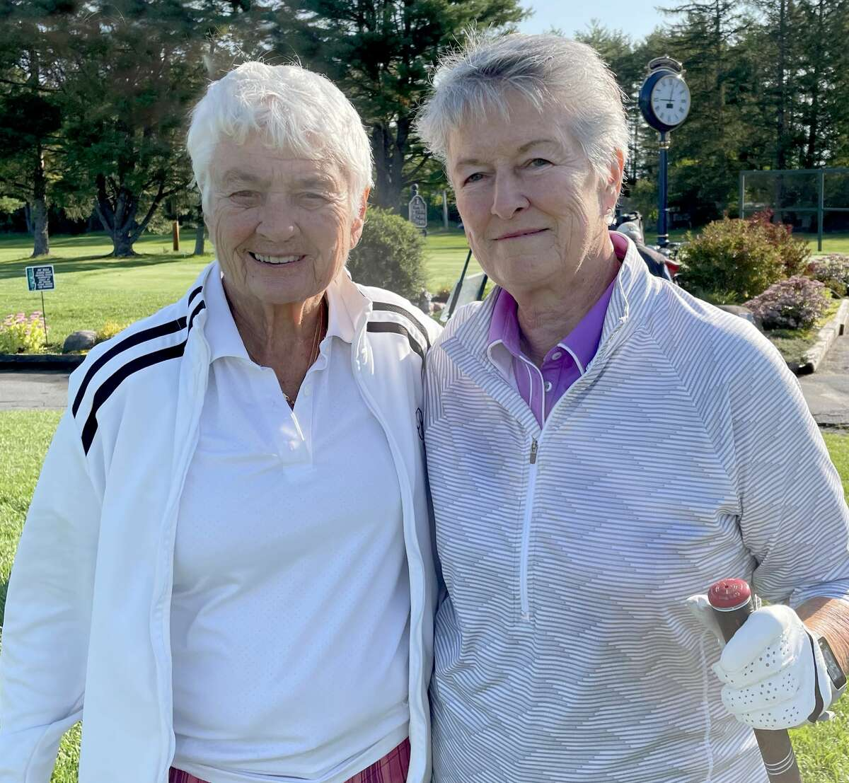 Jan Federice, left, and Pat Joseph wait to tee off in a tournament at Ballston Spa Country Club on Saturday, Sept. 4, 2021. Federice is being inducted into the New York State Girls' Soccer Hall of Fame on Sept. 11.