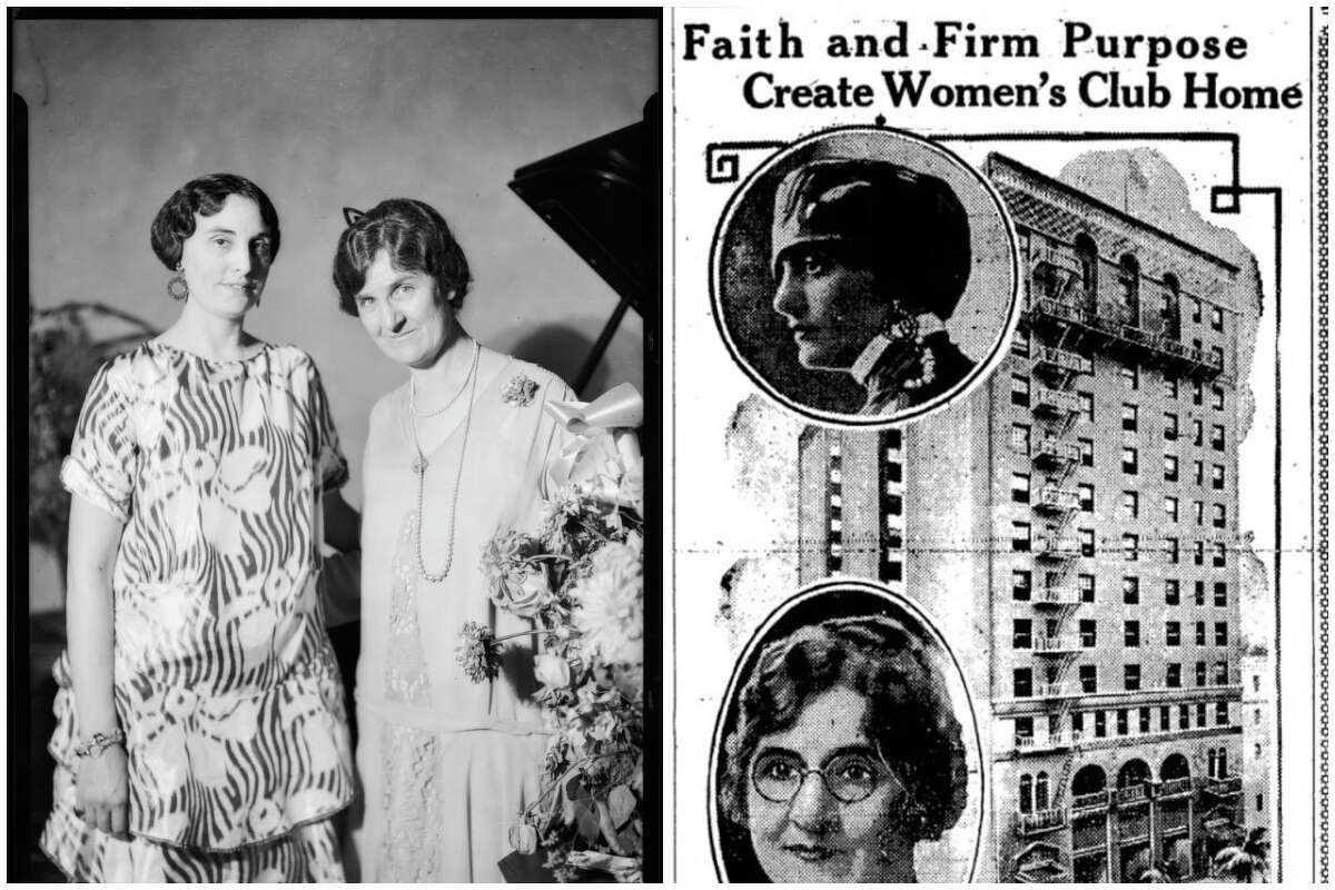 Maude Bouldin and Mrs. Chester C. Ashley (left. 1926) and a historic newspaper clipping (right) from the Hotel Figueroa's archives.