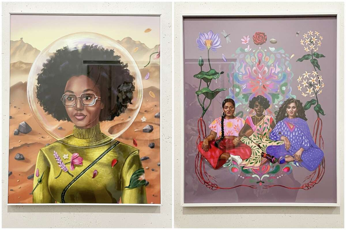 Works by featured artist Shyama Golden in the Hotel Figueroa's lobby gallery.