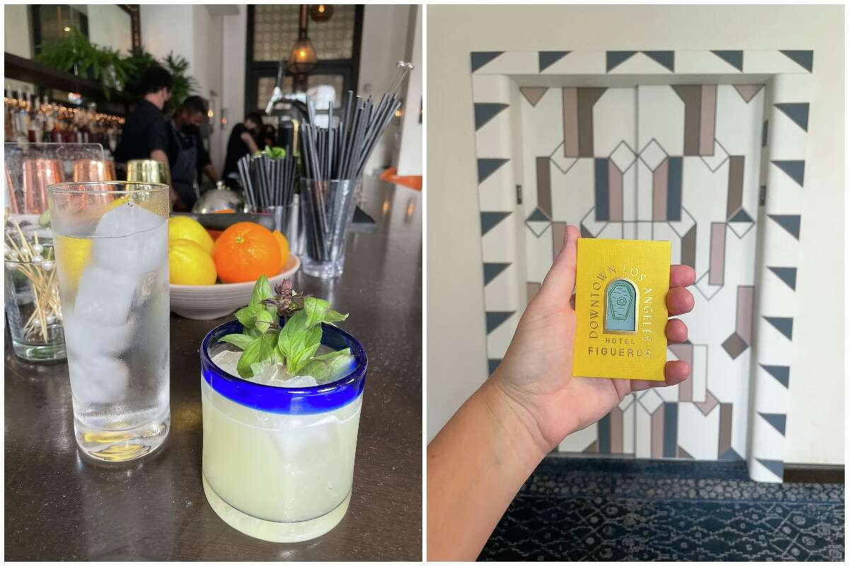 A cocktail at the hotel bar (left) and a Hotel Figueroa key card sleeve (right).