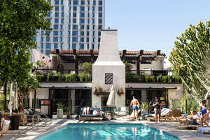 The Hotel Figueroa's ground-level pool has been a draw since the hotel opened as a YWCA in 1926.