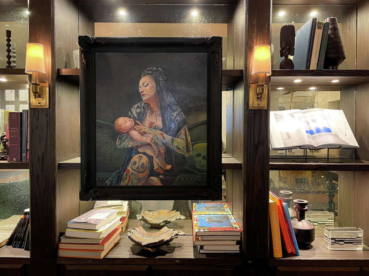 Much of the art in the Hotel Figueroa's lobby highlights the work of female artists and feminist themes.