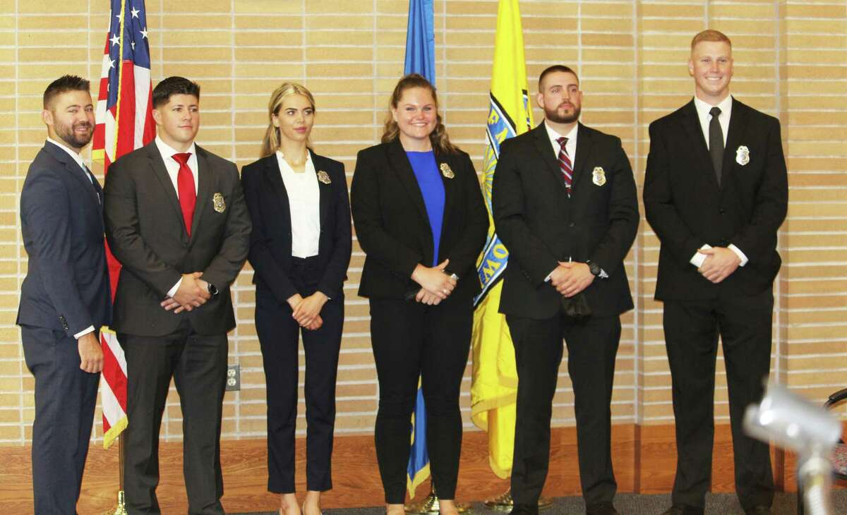 The Middletown Police Department welcomed six new officers Friday morning in a ceremony at City Hall Council Chambers: New hires are Kelsey White and Michelle Franks, while four officers are lateral transfers from other police departments: Thomas Ganley, Jared White, Brian Murphy and Joseph Degoursey.