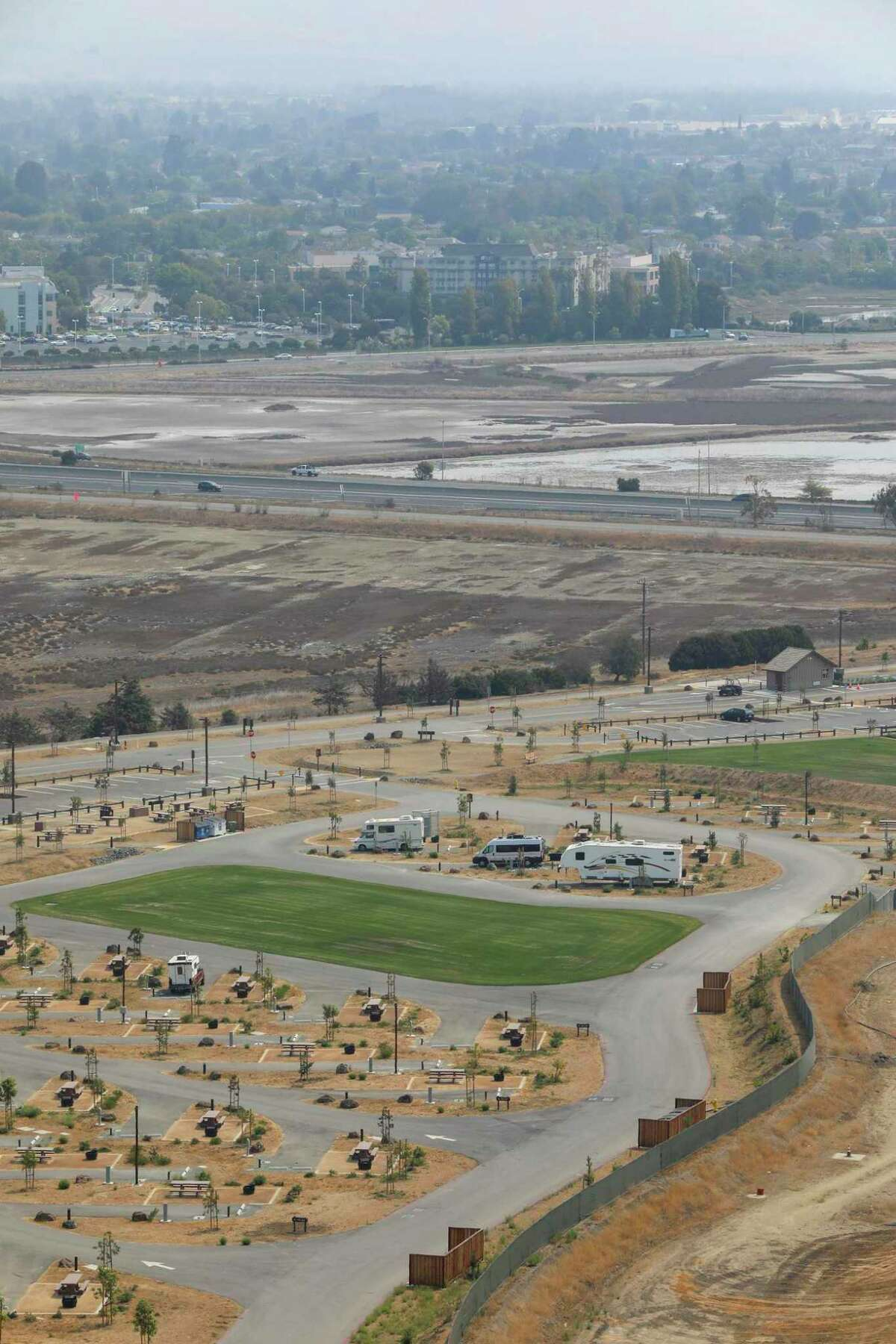 The brand new Dumbarton Quarry Campground in Fremont rests on the site of a former gravel pit at the east end of the Dumbarton Bridge.