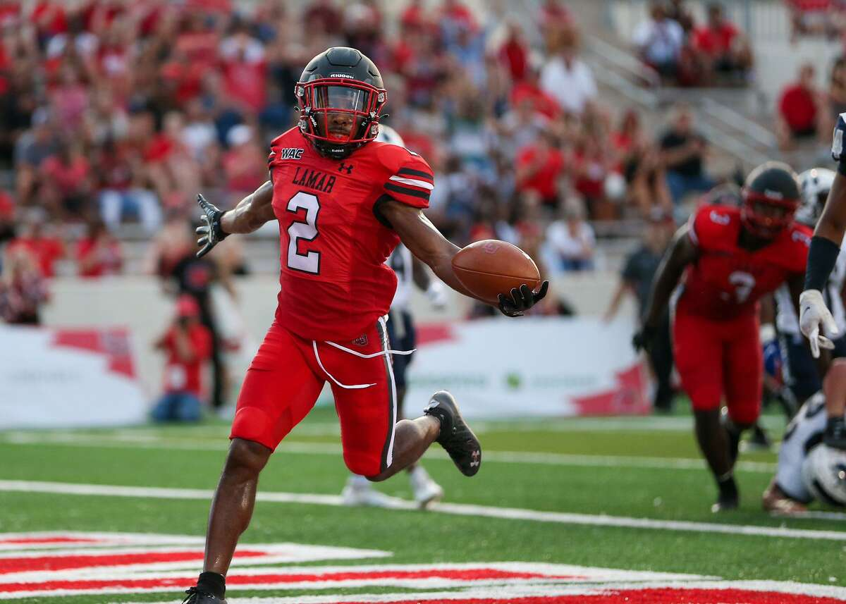 James Jones starts to celebrate as he runs into the end zone during Lamar University's season-opening with over North American last Thursday.
