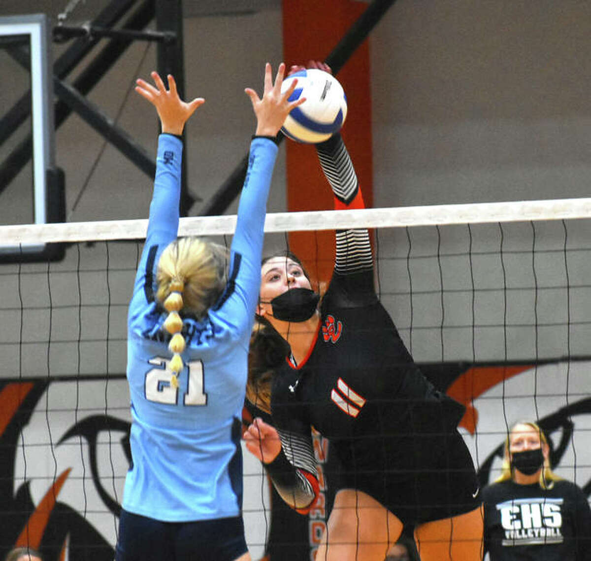 Edwardsville's Gabby Saye slams down a kill against Mater Dei in the semifinals of the Tiger Classic on Saturday.