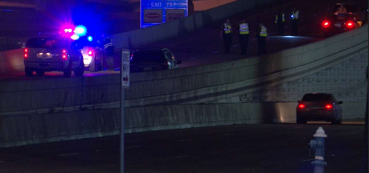 Police investigate a fatal crash Sept. 5, 2021, on the Katy Freeway eastbound ramp to Beltway 8.
