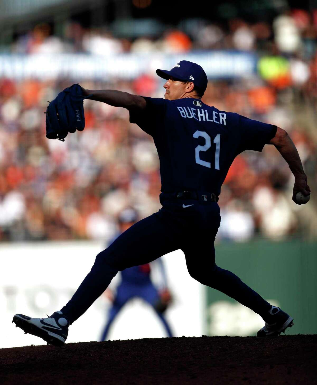 Los Angeles Dodgers' Walker Buehler pitches in 3rd inning against San Francisco Giants during MLB game at Oracle Park in San Francisco, Calif., on Sunday, September 5, 2021.