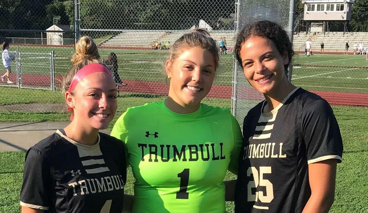 Mia DiBello, Julia Marin and Sophia Lowenberg will captain coach Rich Sutherland's Trumbull girls' soccer team.