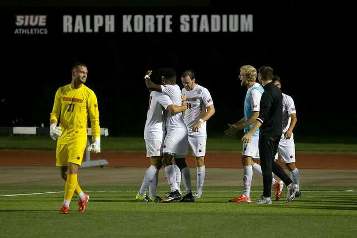 The SIUE men's soccer team celebrates a win Friday inside Ralph Korte Stadium in Edwardsville.