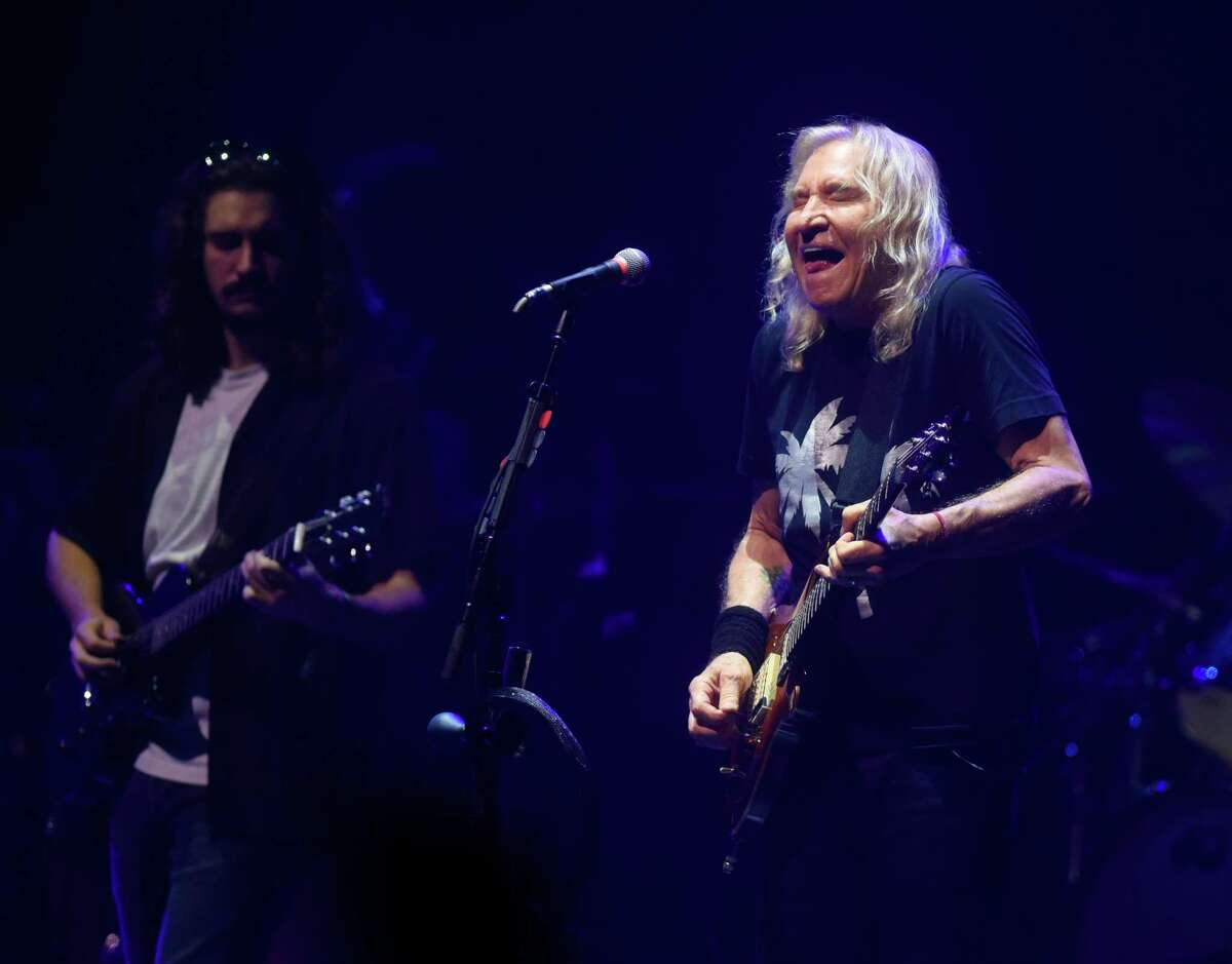 Joe Walsh, right, and Deacon Frey perform with classic rock band Eagles at the Greenwich Town Party at Roger Sherman Baldwin Park in Greenwich, Conn. Sunday, Sept. 5, 2021. This year's lineup featured headliners Zac Brown Band and Eagles.