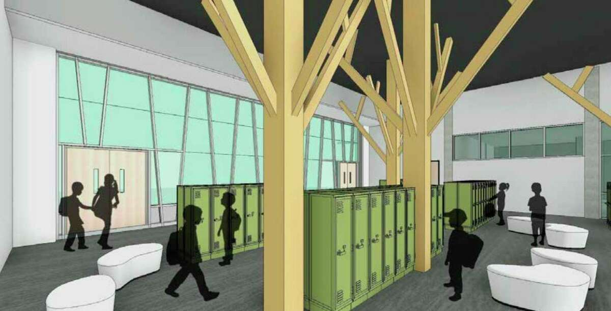 Pictured is a drawingof a potential design for a group space on theground floor of Kennedy Elementary School.(Screenshot/chipslead.org)