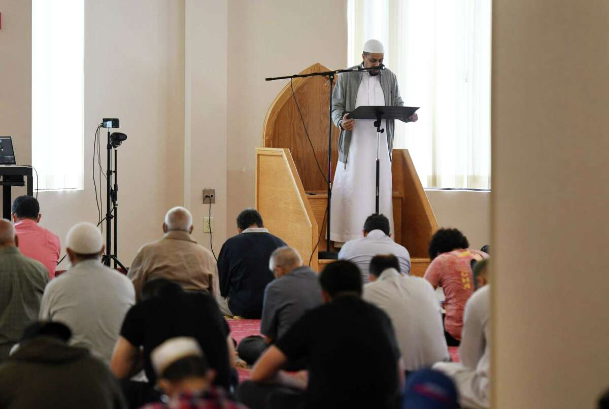Friday prayers are observed at the Islamic Center of the Capital District on Friday, Sept. 3, 2021, in Colonie, N.Y.