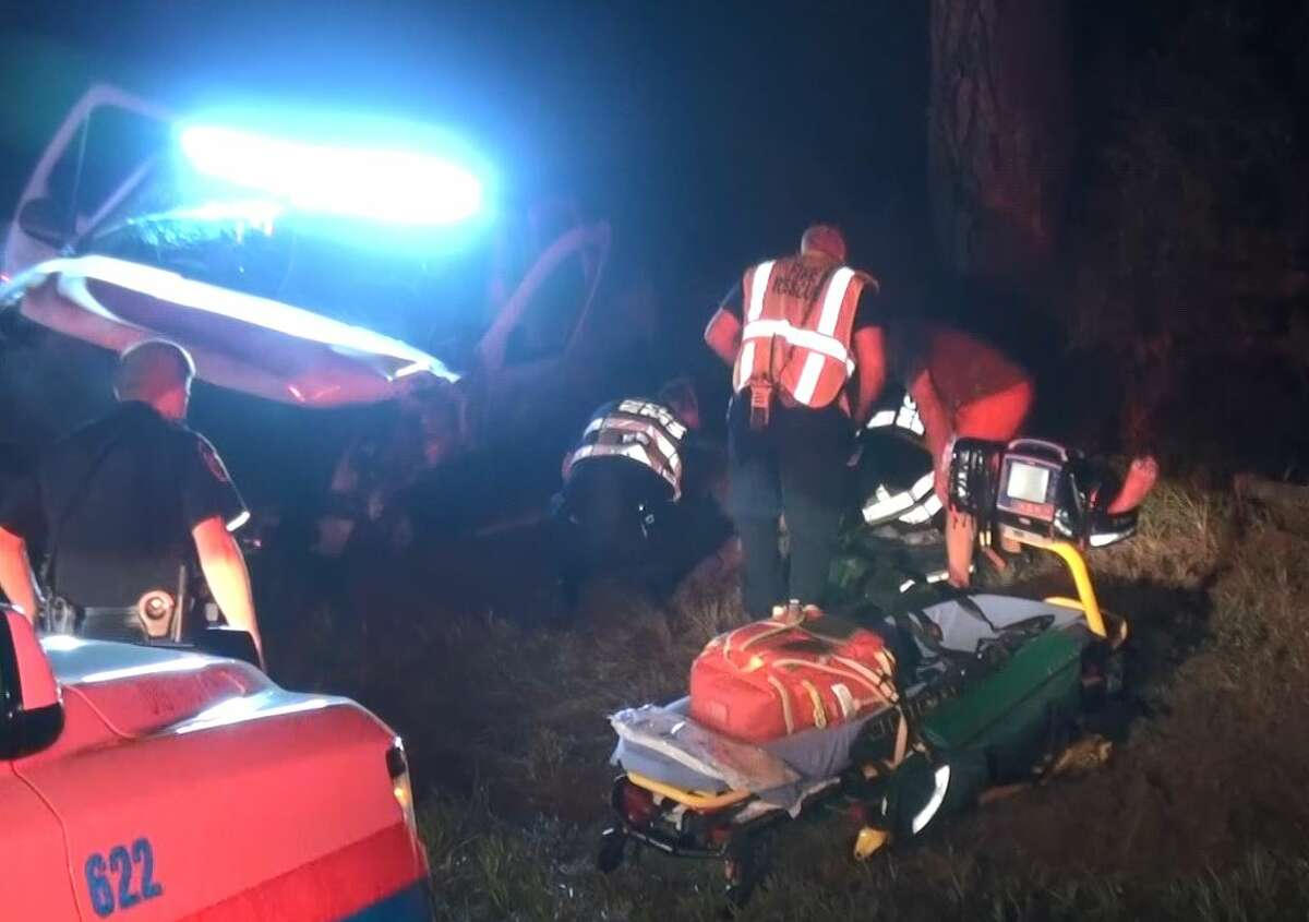 One person is in critical condition after an unlicensed driver believed to be impaired crashed into his truck nearly head-on Sunday night in Conroe, according to authorities.