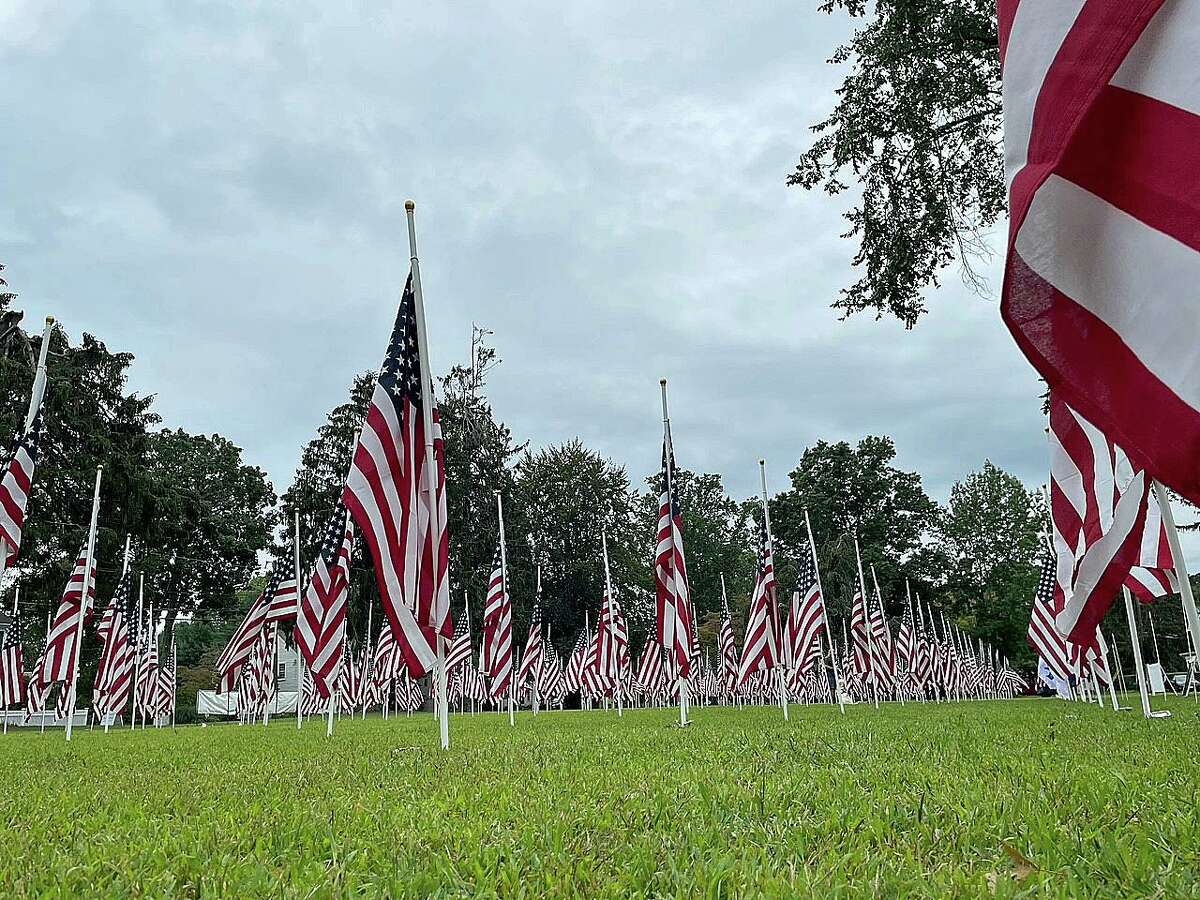 Flags in the 'Healing Field' on the Madison Green.