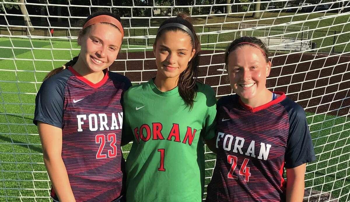 Lauren Ardolino, Hanna Della Bitta-Falkowski and Rylee Tondora are Foran girls' soccer captains.