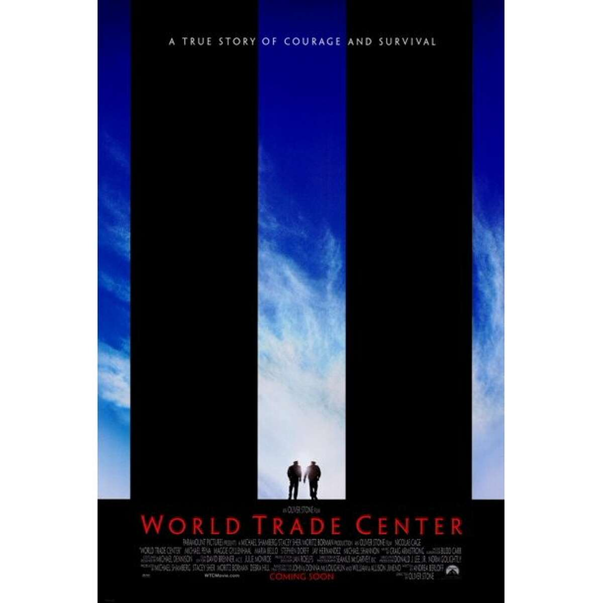 """The theatrical release poster for Oliver Stone's 2006 docudrama """"World Trade Center,"""" starring Nicolas Cage and Michael Peña."""