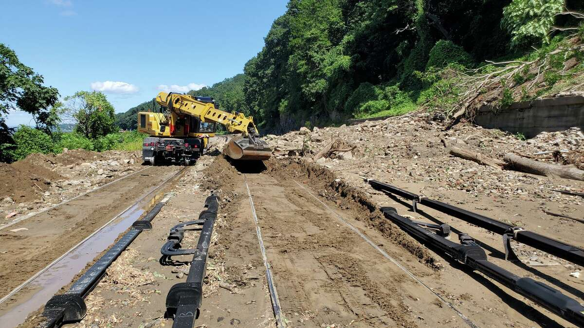Metro-North crews work to restore service following the unprecedented rainfall associated with the remnants of Hurricane Ida.