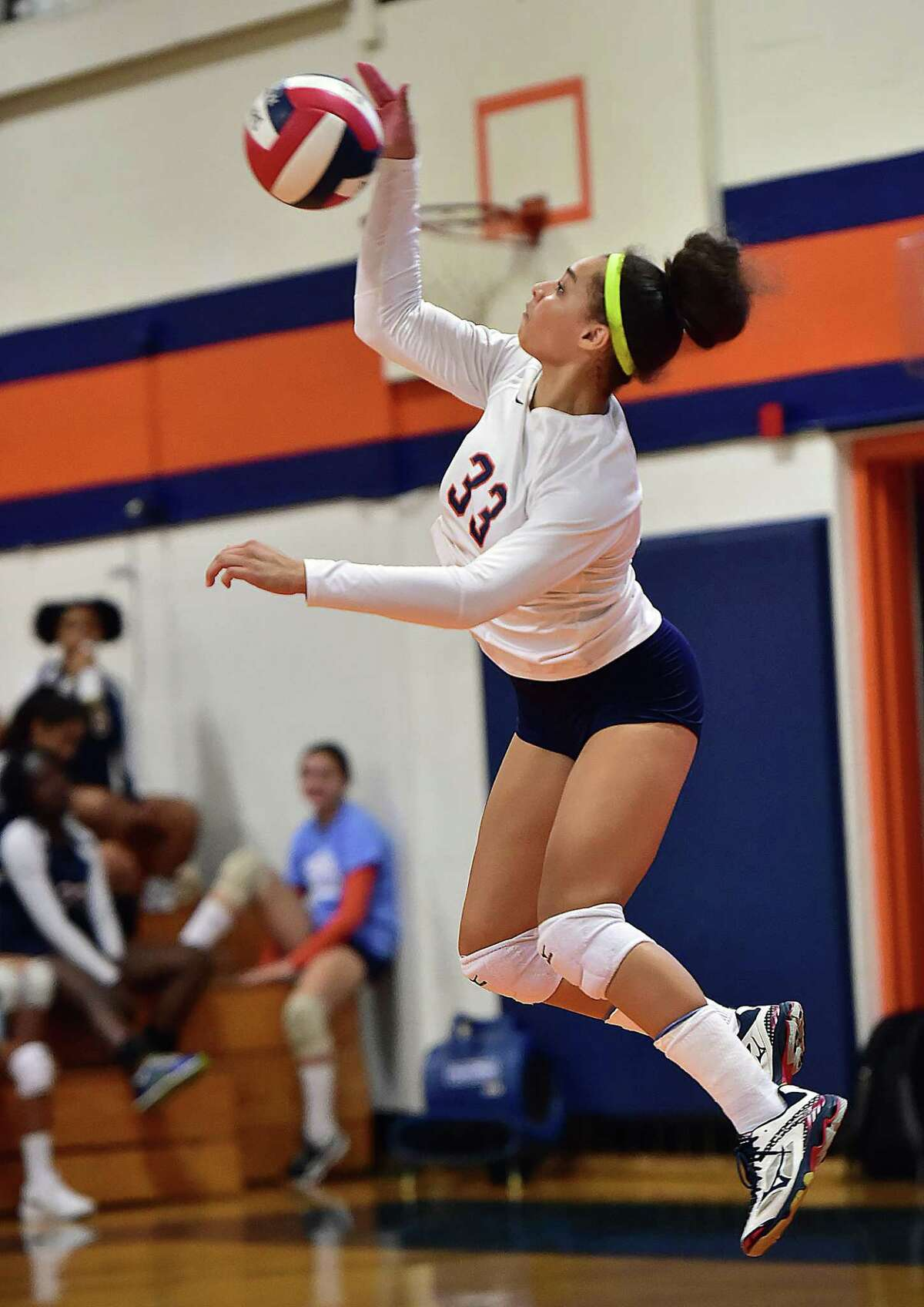 Lyman Hall outside hitter Mackenzie Grady serves against West Haven Wednesday, September 12, 2018, at Lyman Hall High School in Wallingford. West Haven won, 3-2 (25-22, 23-25, 25-26, 25-20, 15-13).