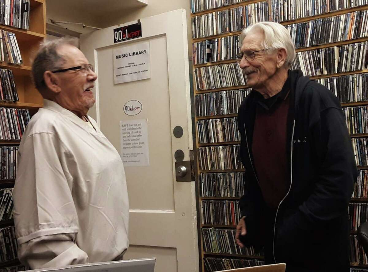 """Lester """"Pe-Te"""" Johnson (left), a Cajun BBQ restaurant owner and radio music show host, is pictured Saturday, Feb. 1, 2020 with longtime KPFT 90.1 deejay Larry Winters."""