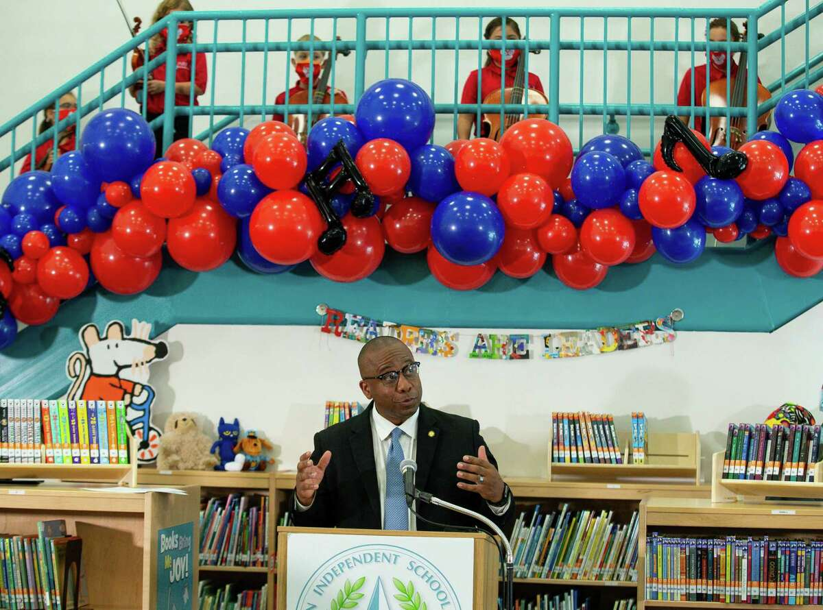Houston ISD superintendent Millard House II talks to reporters during a press conference at Parker Elementary School on the first day of school on Monday, Aug. 23, 2021, in Houston. House and HISD administrators will hold 10 public town hall meetings during the next month to gather community input .