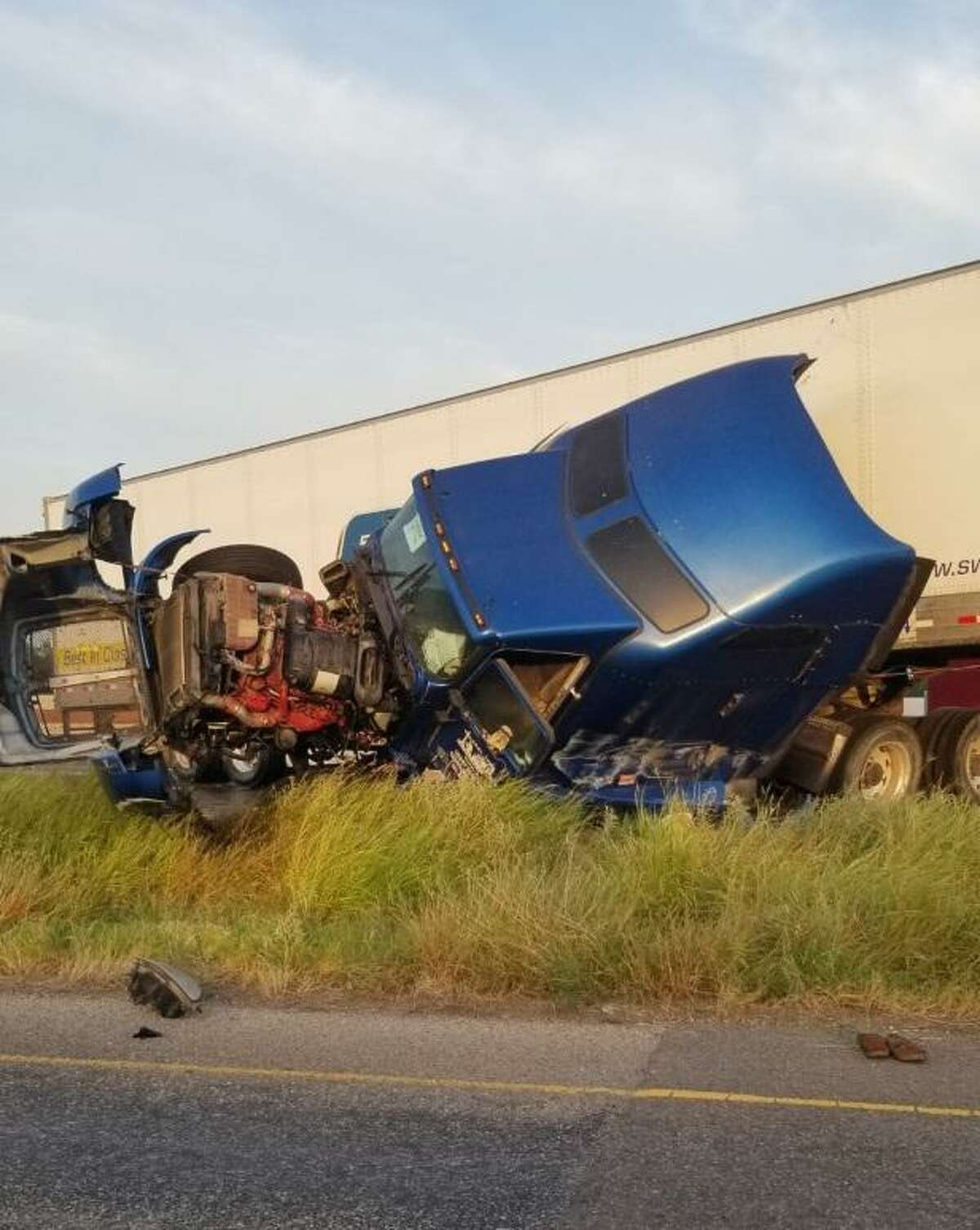 Two people were reported in serious condition following this crash on Monday morning along Interstate 35.