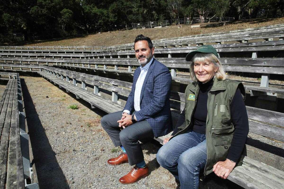 Supervisor Ahsha Safaí and Linda Litehiser, San Francisco Recreations and Park volunteer with Friends of the Jerry Garcia Amphitheater.