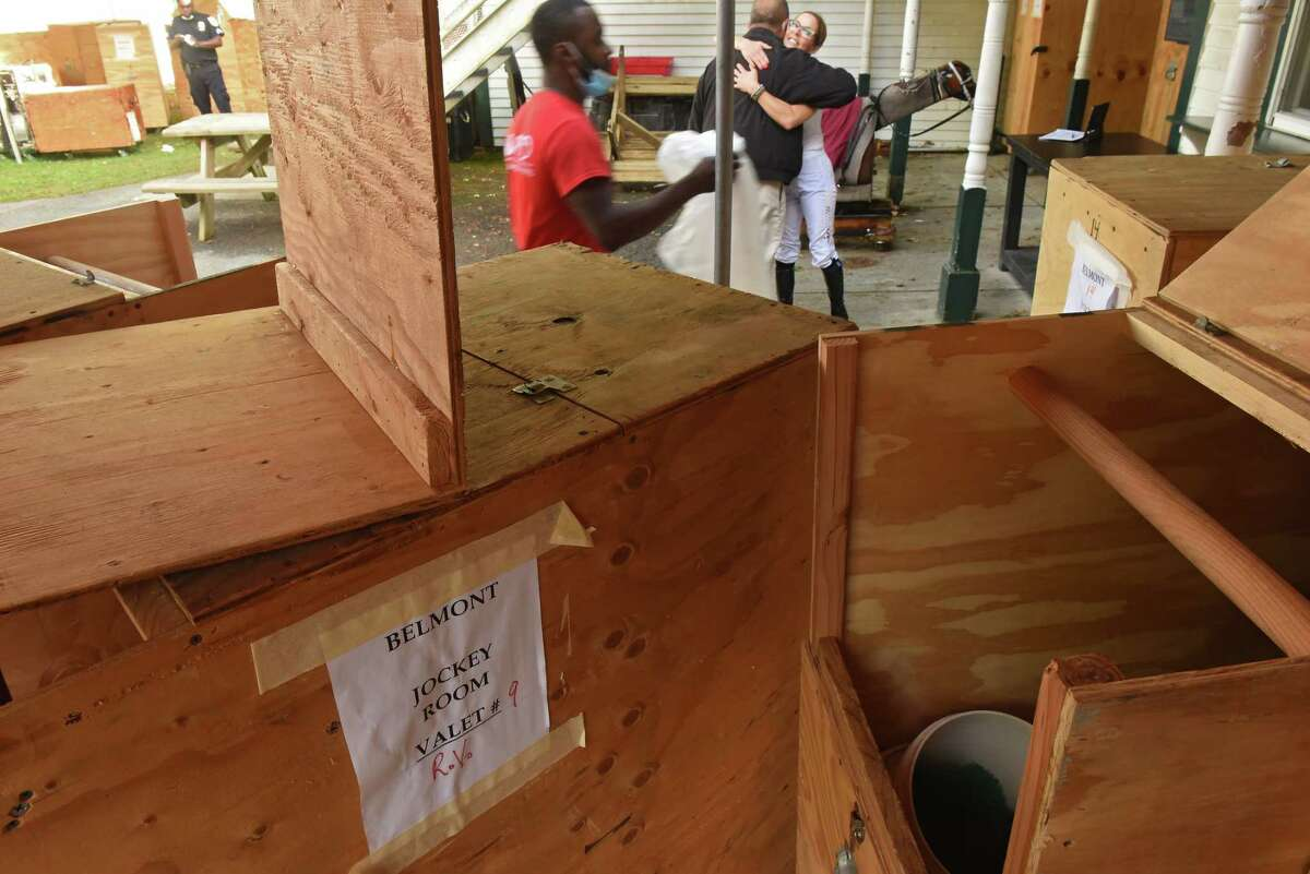Wooden crates destined for Belmont are being packed up at Saratoga Race Course on Monday, Sept. 6, 2021 in Saratoga Springs, N.Y. Today is the last day of the meet.