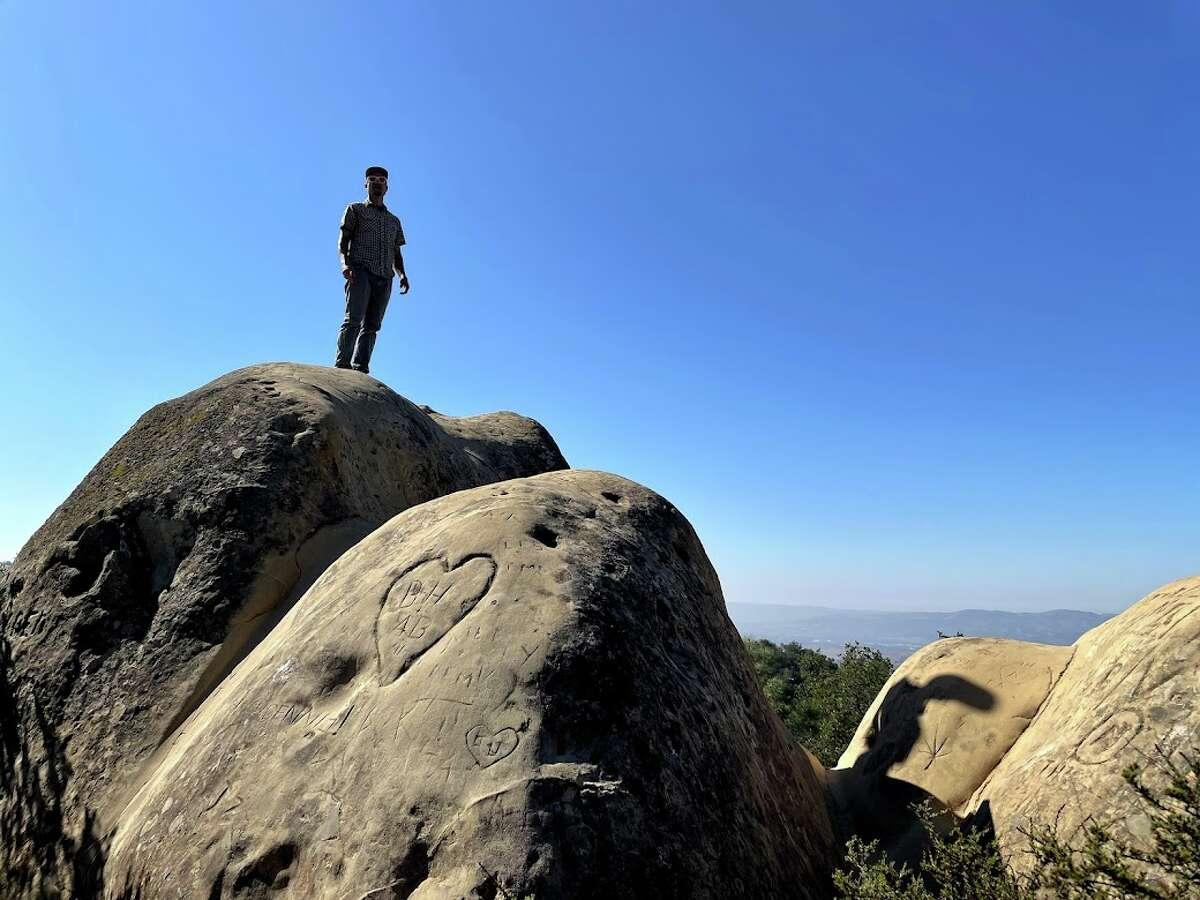 A heart is carved in a sandstone boulder at Mount Diablo's Rock City.