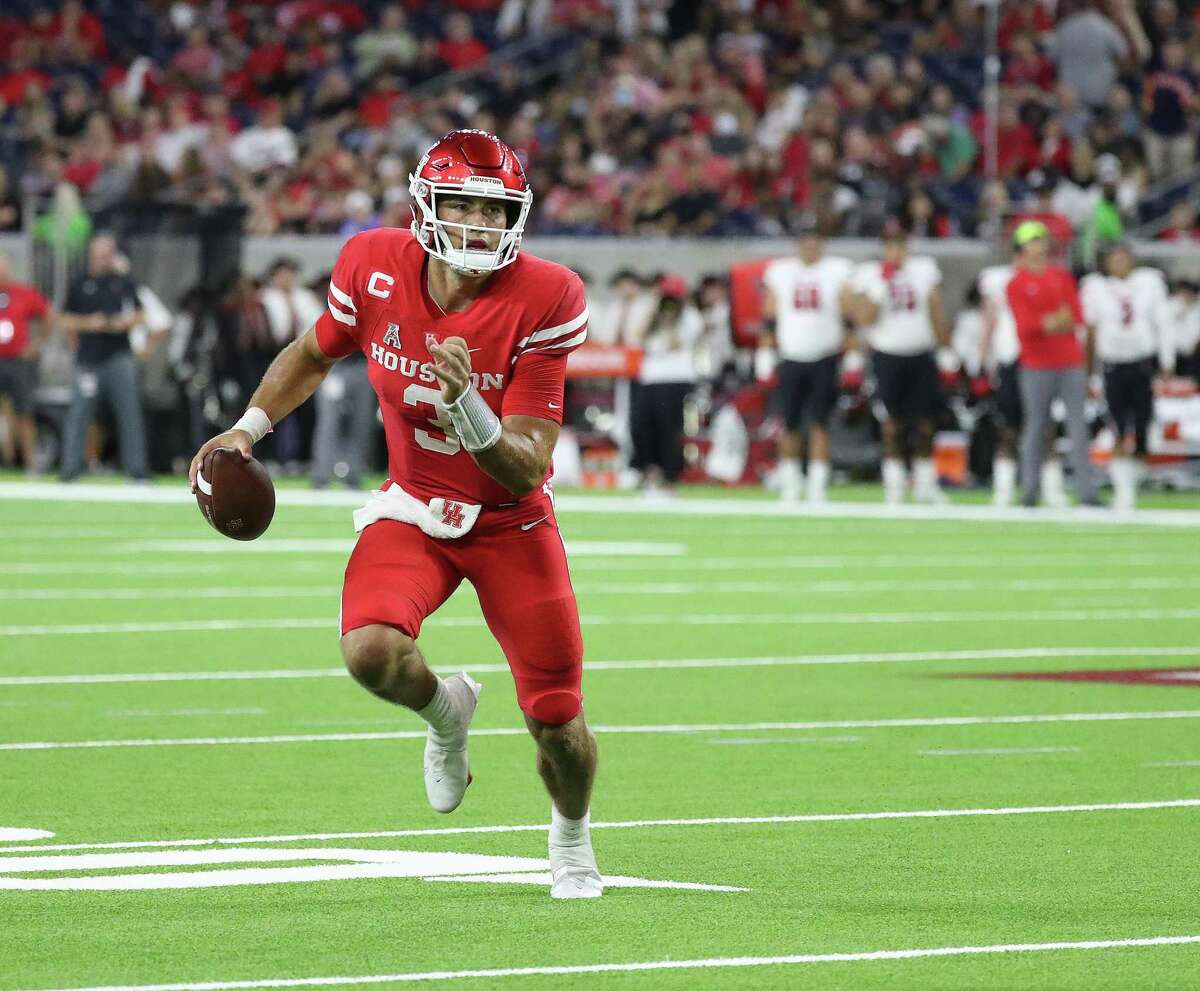 Clayton Tune, despite four interceptions in opener, had his positive moments against Texas Tech.