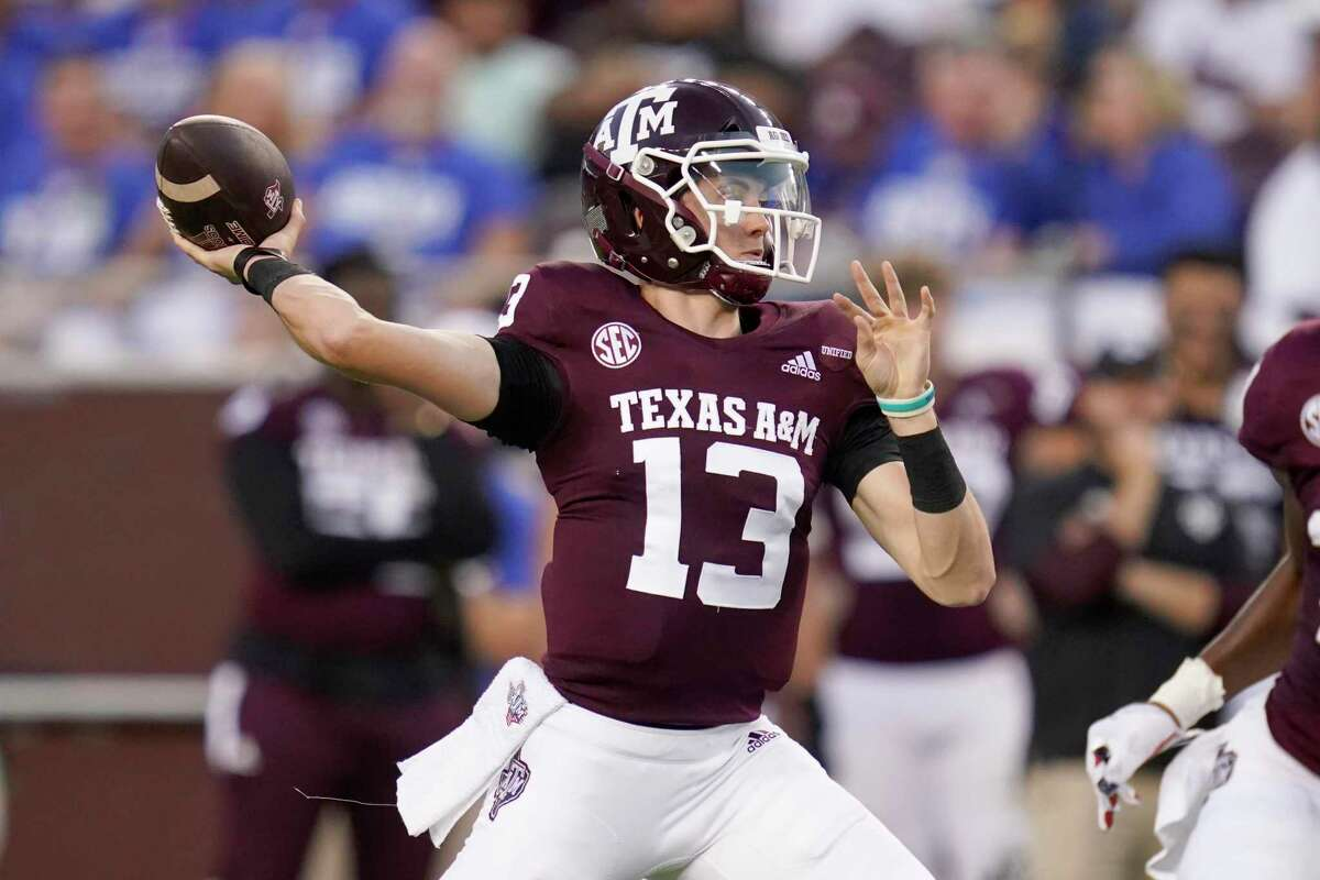 Texas A&M quarterback Haynes King, in his first start, was 21 of 33 for 292 yards, two touchdowns and three interceptions.