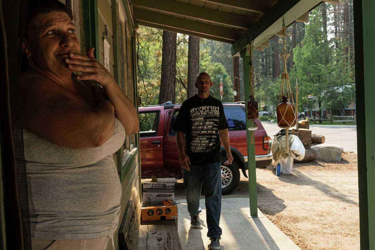 Jill Nestroyl and her boyfriend, Ryan Hansken, return to their home in South Lake Tahoe after evacuating during the Caldor Fire. The couple stayed in a tent at the Lifepoint Church in Minden, Nev., and said their evacuation experience was positive.