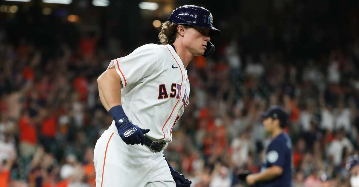 Houston Astros Jake Meyers (6) rounds the bases after hitting a 3-run home run off Seattle Mariners starting pitcher Yusei Kikuchi during the second inning of a major league baseball game Monday, Sept. 6, 2021, at Minute Maid Park in Houston.