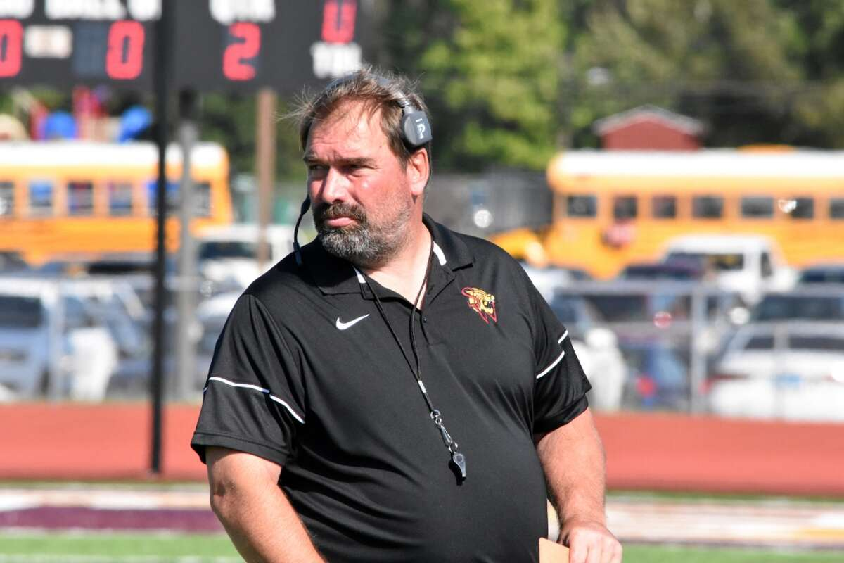 South Windsor coach Dave Hodge on the sideline against Simsbury at South Windsor high school on Saturday, Sept. 28, 2019.