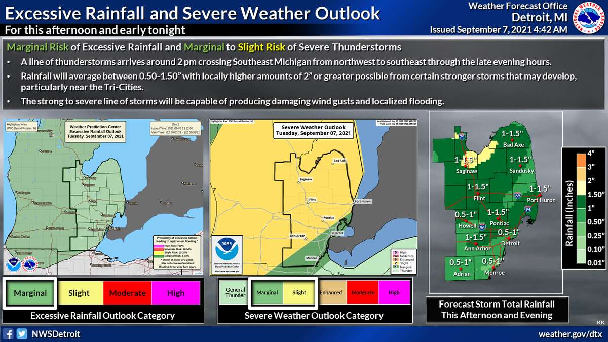 Thunderstorms are expected late Tuesday afternoon through the evening as a strong cold front crosses the region, the National Weather Service reports in a hazardous weather outlook.
