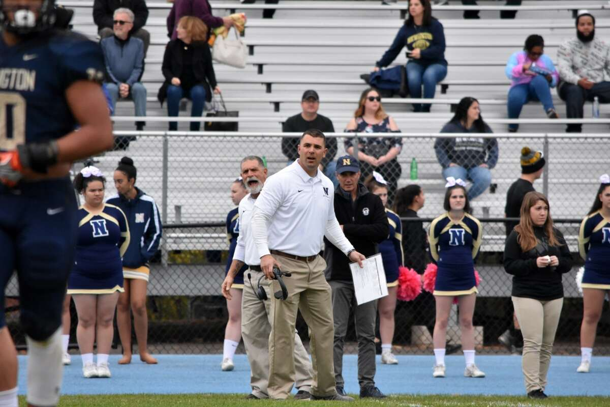 Newington coach Jason Pace in the football game between Maloney and Newington at Newington high on Friday, Oct. 25, 2019.