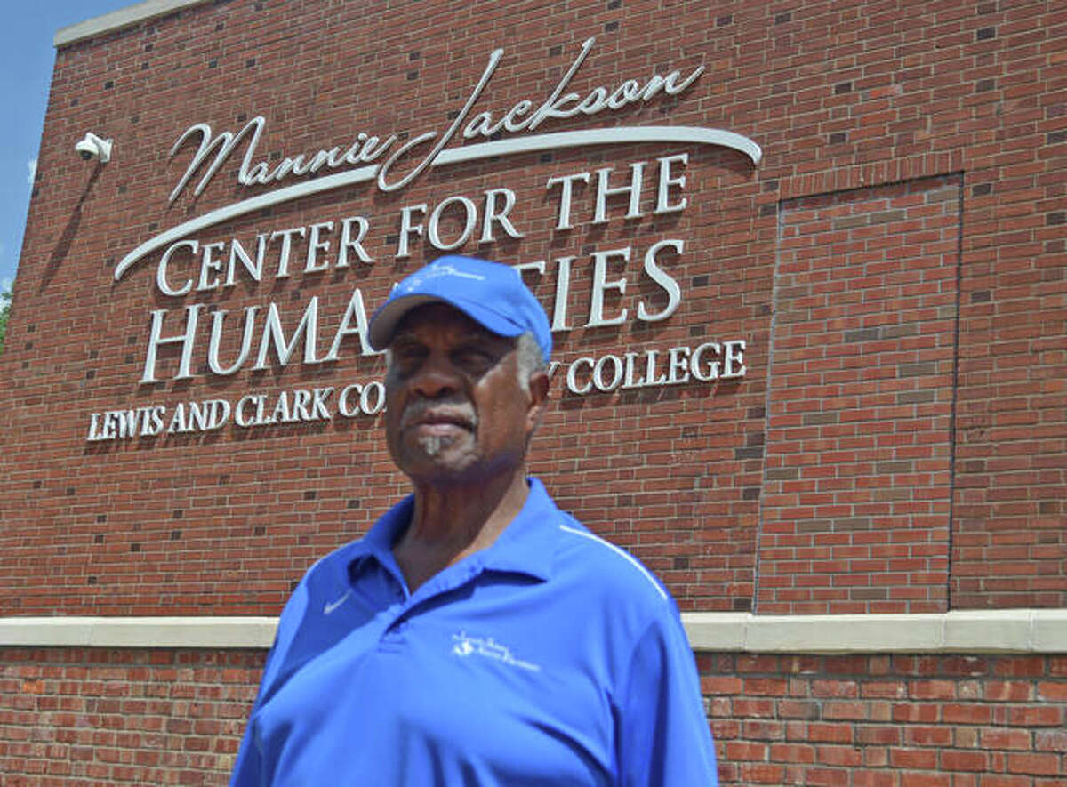 Edwardsville High School graduate Herman Shaw stands in front of the Mannie Jackson Center for the Humanities on Main Street in Edwardsville. The center is the former Lincoln School, which Shaw attended through his freshman year before transferring to EHS when the city's schools were integrated in 1951.