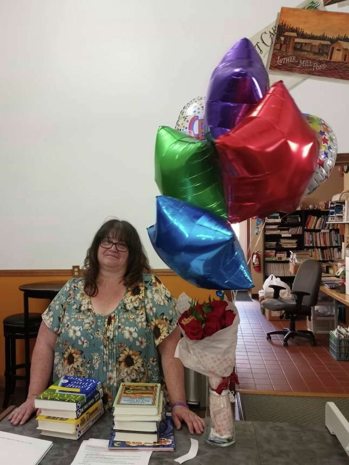 Jody Lucas, librarian at the Luther Public Library for the past 19 years, has retired. (Photo by Shanna Avery for the Star))