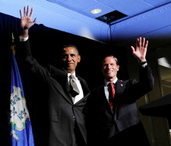 President Barack Obama, left, with Connecticut Attorney General and Democrat candidate for US Senate Richard Blumental, right, wave during a fundraiser in Stamford, Conn., Thursday, Sept. 16, 2010. Blumenthal is running in the Nov. 2 general election to fill the seat being vacated by the retirement of Sen. Christopher Dodd, D-Conn. (AP Photo/Pablo Martinez Monsivais) Photo: Pablo Martinez Monsivais, AP / Associated Press