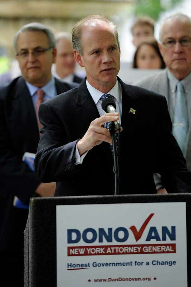 Dan Donovan, the Staten Island district attorney running for state attorney general, says his opponent is tainted by his years of service in the state Legislature. Photo: Skip Dickstein / 2008
