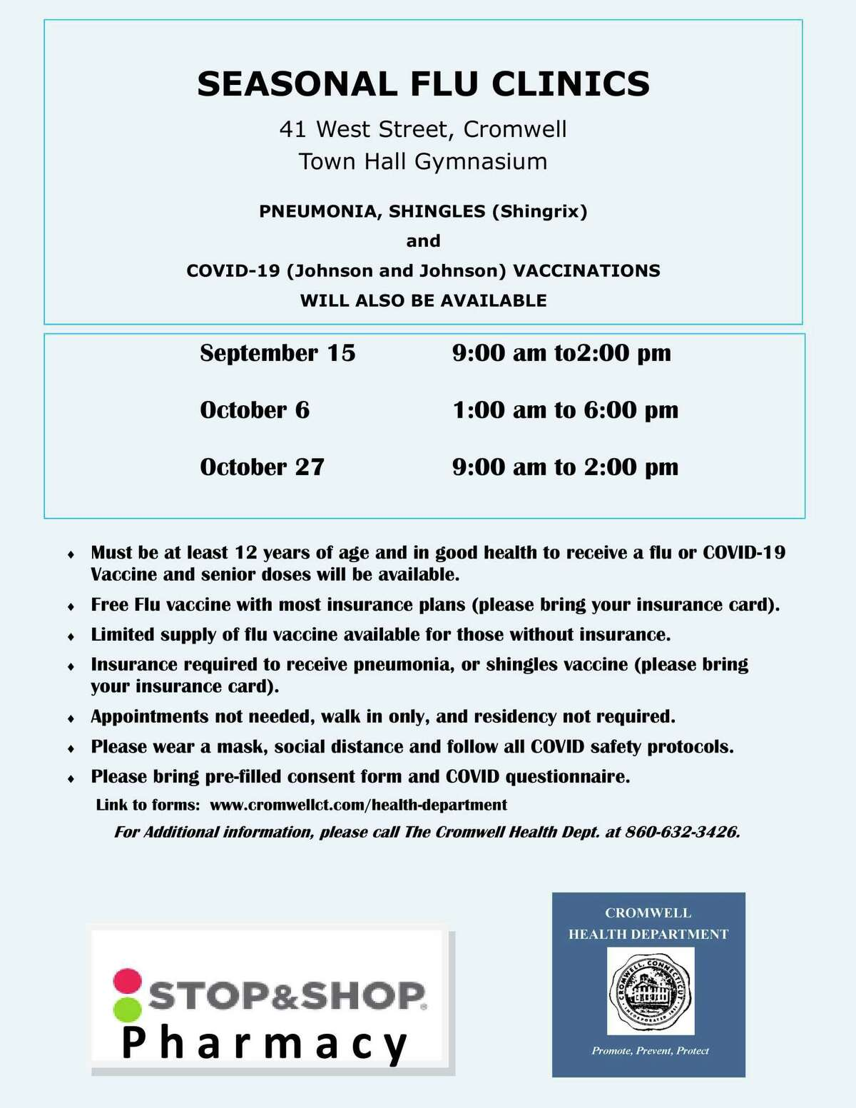 Fall flu clinics are beginning in Cromwell.
