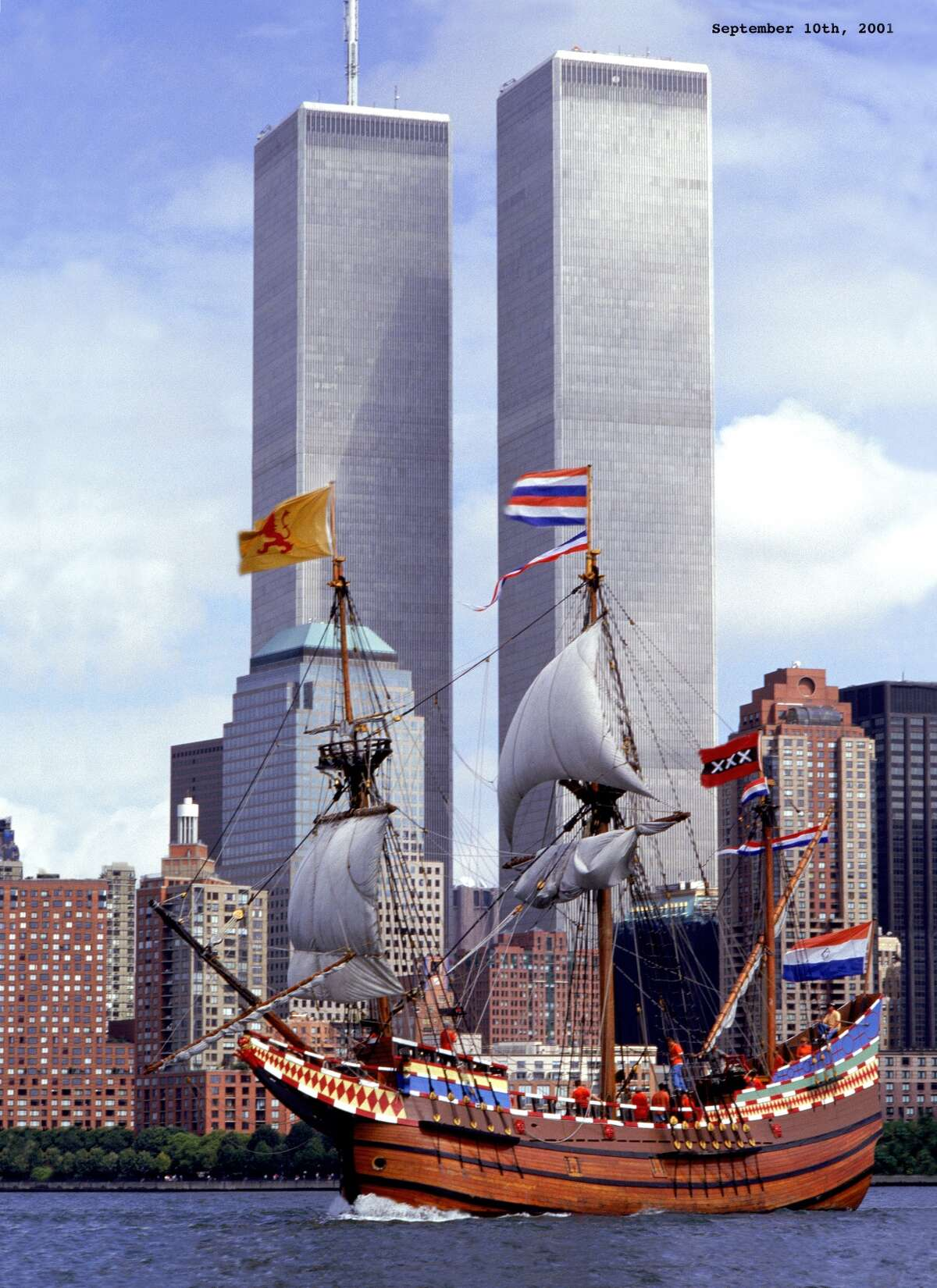 The Half Moon sails past lower Manhattan on Sept. 10, 2001, with the World Trade Center in the background.
