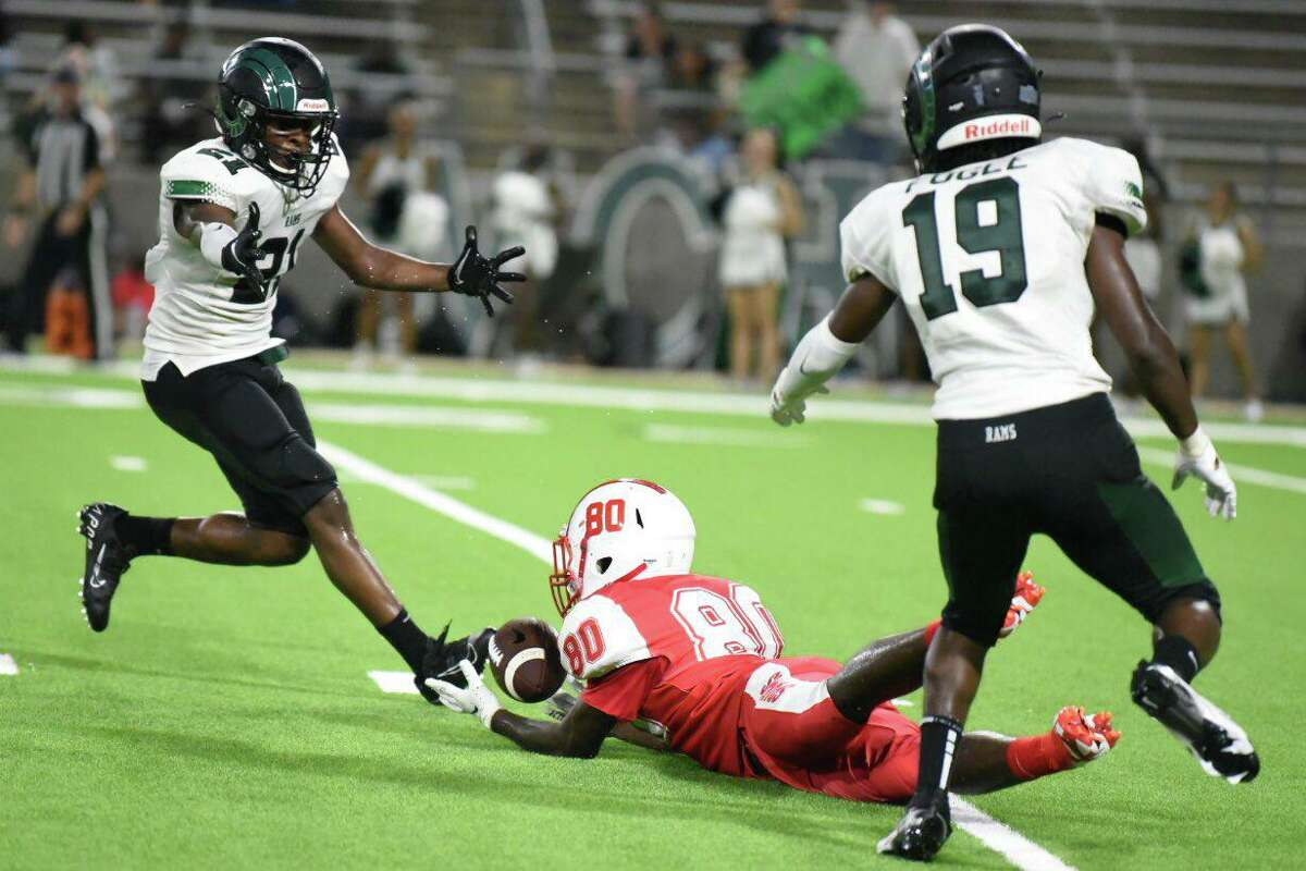 Jaylen Bragg threw three touchdowns in the first half and Tay'Shawn Wilson scored on a 63-yard punt return to hand Mayde Creek a 35-14 non-district win over Cy Lakes, giving J Jenson his first-career victory as head coach on Thursday night, Sept. 2, at Cy-Fair FCU Stadium.
