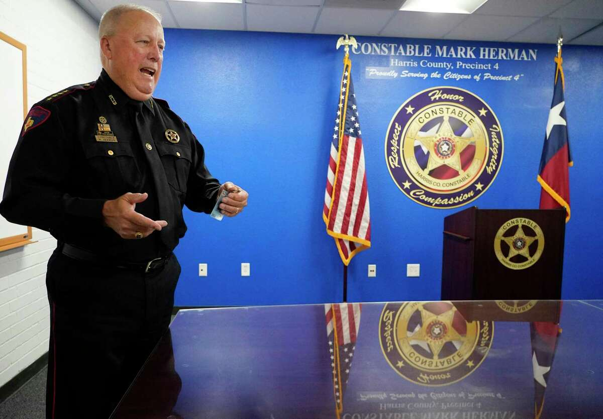 Harris County Precinct 4 Constable Mark Herman speaks Monday, Aug. 9, 2021 in Spring about the shooting of a shoplifting suspect, who was killed during a shootout with Precinct 4 Deputy Constables on Sunday night at Walmart, 21150 Kuykendahl Road.