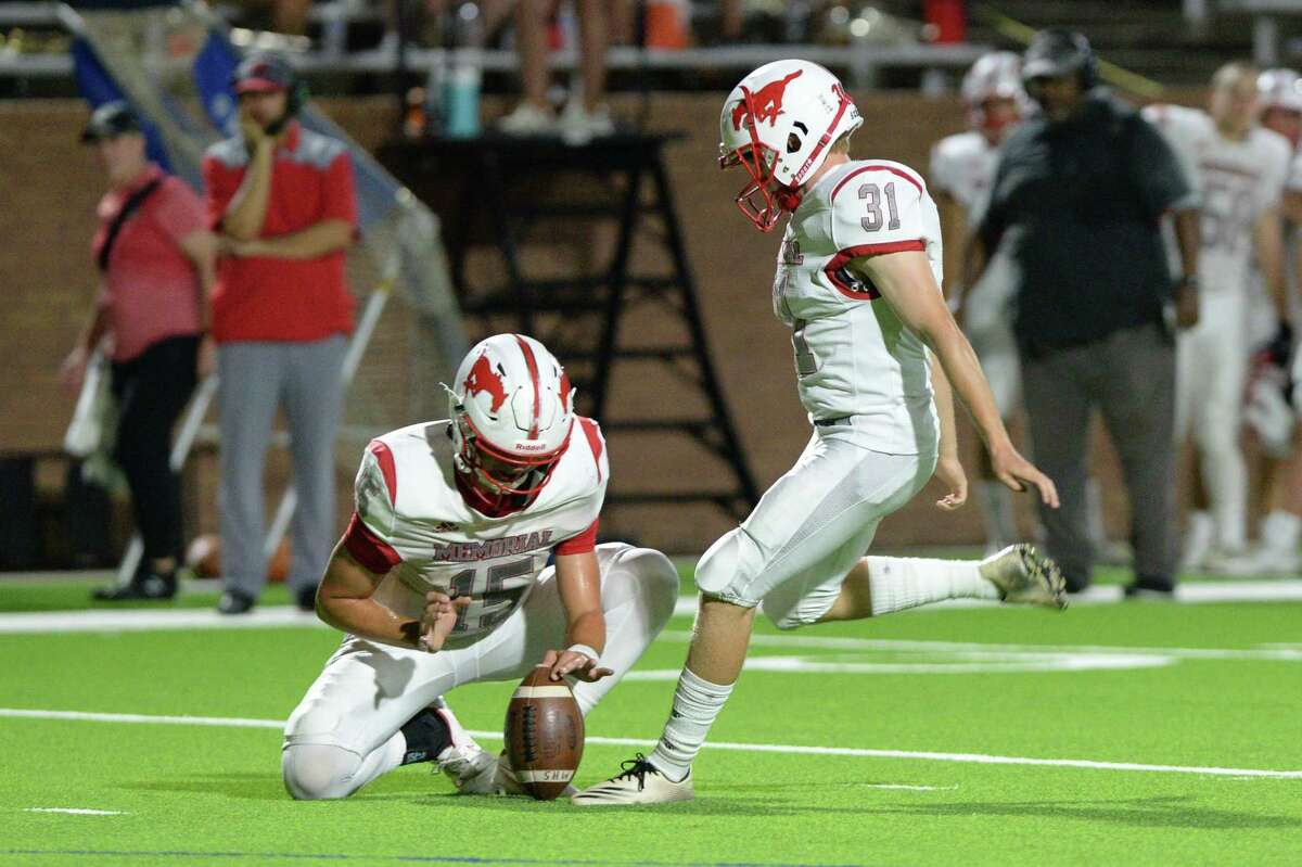 Carter Kenne (picture here from Memorial's Week 1 game) kicked three field goals including the game-winner in overtime in Memorial's 17-14 win over Pearland at Tully Stadium on Sept. 3.