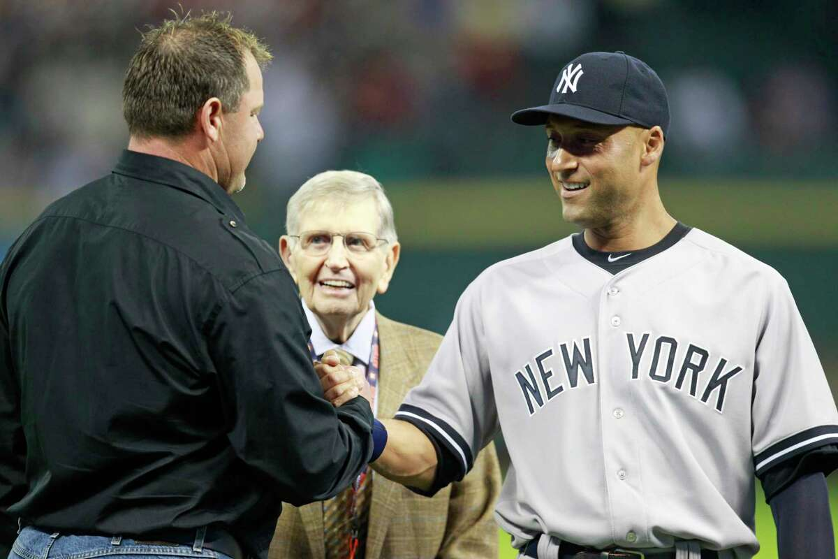 Twenty-two years after they passed on drafting him first overall, the Astros were the first team to honor Derek Jeter during his final season in 2014, with a delegation that included Roger Clemens (left) and the late broadcaster Milo Hamilton.