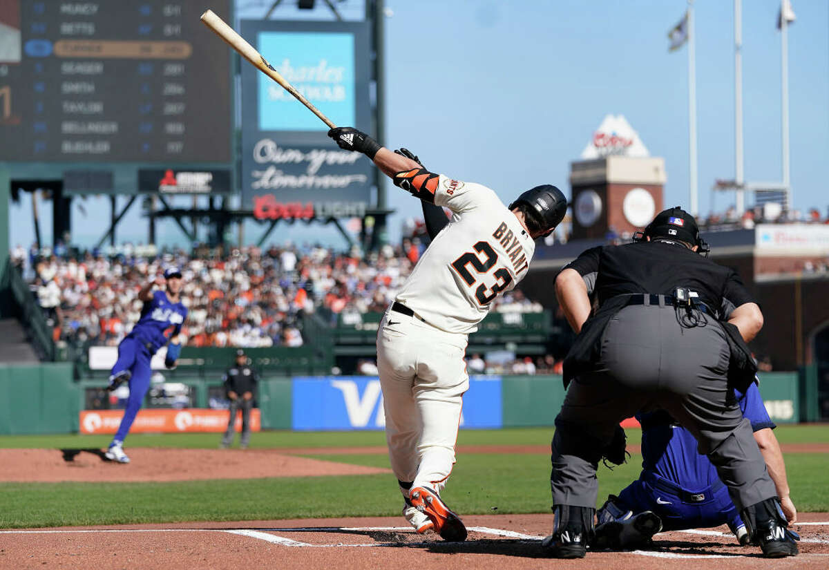 Kris Bryant of the San Francisco Giants bats against the Los Angeles Dodgers in the bottom of the first inning at Oracle Park on Sept. 5, 2021, in San Francisco.